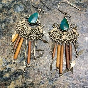 Jewelry - 💃3 for $15 🕺🏻Sterling and green stone earrings